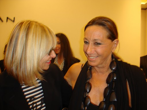 Elysze Held sharing a joke with Donna Karan.